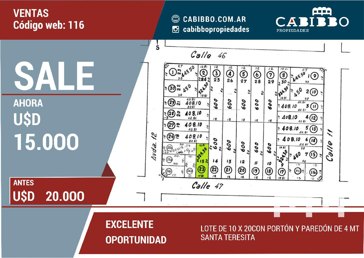 LOTE CON PORT�N Y PARED�N