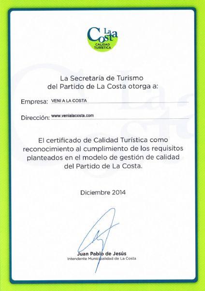 Ver detalles de venialacosta.com obtuvo el Certificado de Calidad Tur